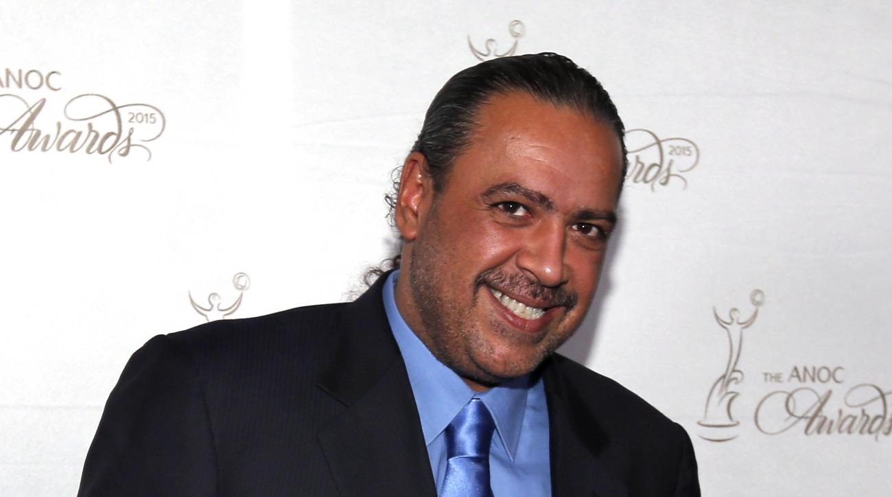 FILE - This is a Thursday, Oct. 29, 2015 file photo of Kuwait's Sheikh Ahmad Al-Fahad Al-Ahmed Al-Sabah, president of the Association of National Olympic Committees (ANOC), as he  poses for photographers before an Association of National Olympic Committee