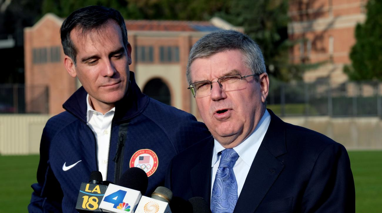 International Olympic Committee President Thomas Bach, right, talks during a news conference with Los Angeles Mayor Eric Garcetti, at UCLA, Monday, Feb. 1, 2016. Bach is visiting Los Angeles to check out proposed venues for the 2024 Olympic Games. Thomas
