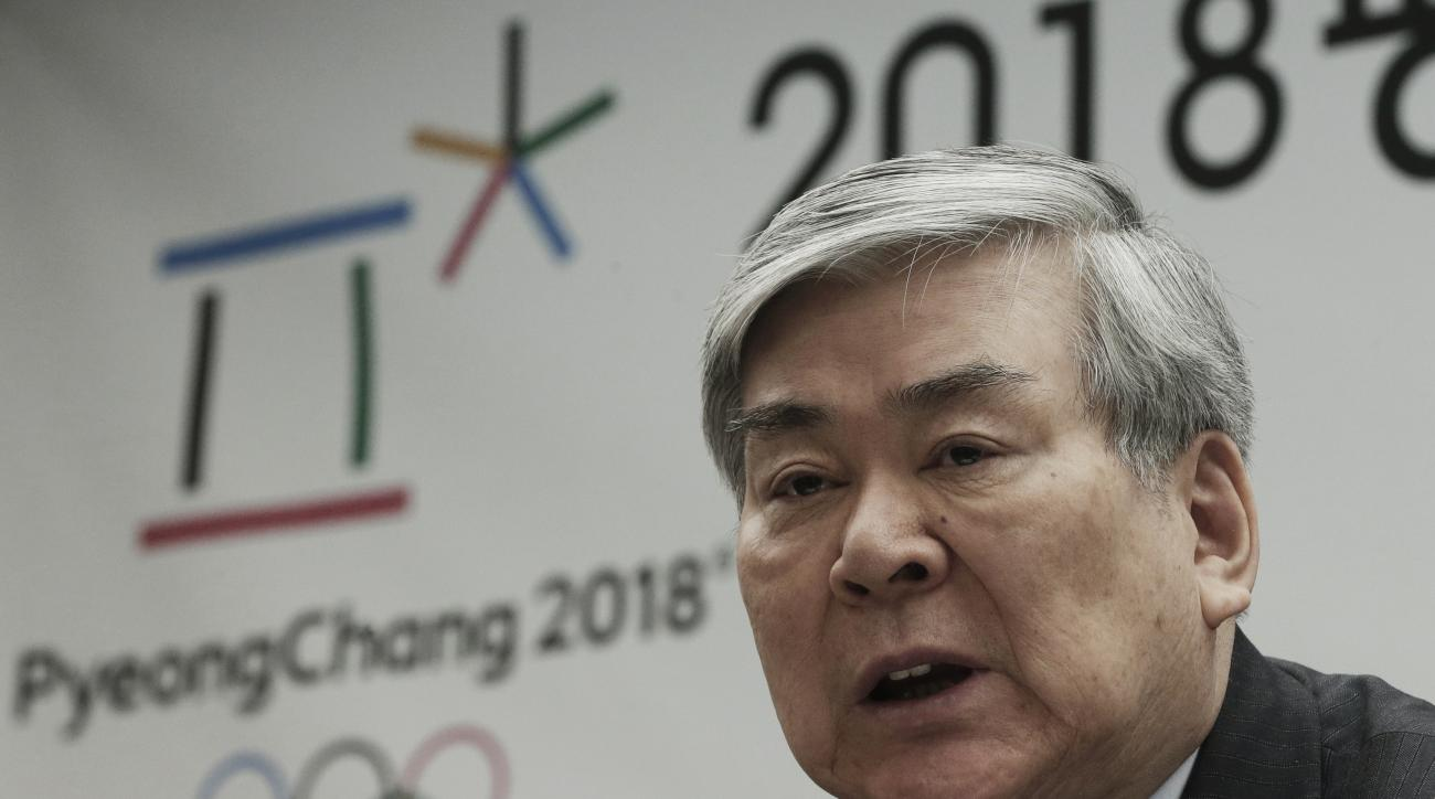 Cho Yang-ho, president of the Pyeongchang 2018 Winter Olympics Organizing Committee, speaks during a press conference about the alpine skiing test event for the 2018 Pyeongchang Olympics in Jeongseon, at the Press Center in Seoul, South Korea, Wednesday,
