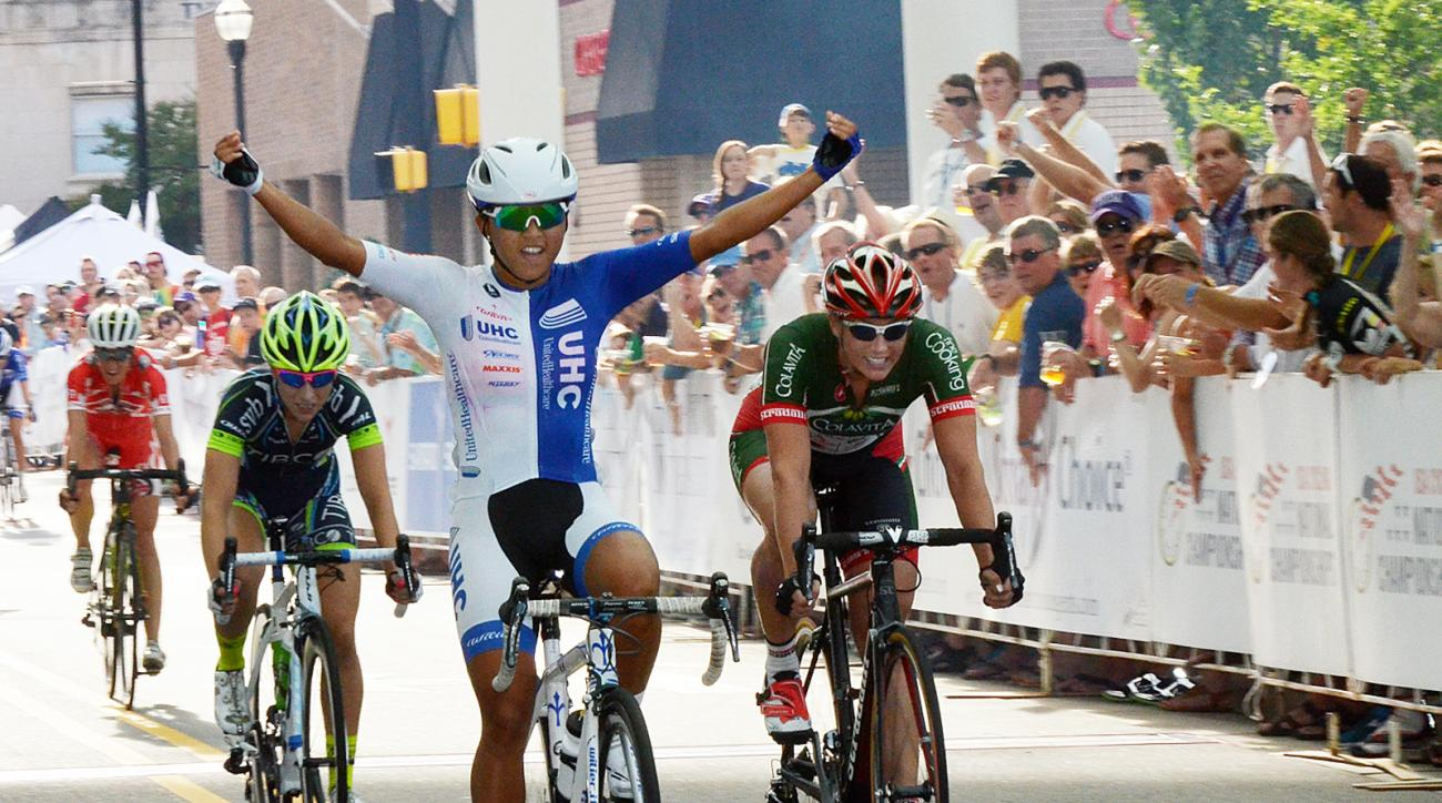 FILE - In this Sept. 6, 2014, file photo, Coryn Rivera takes first place in the women's USA Cycling Professional Criterium National Championships in High Point, N.C. Rivera is easily the most decorated cyclist in American history, the winner of an astound