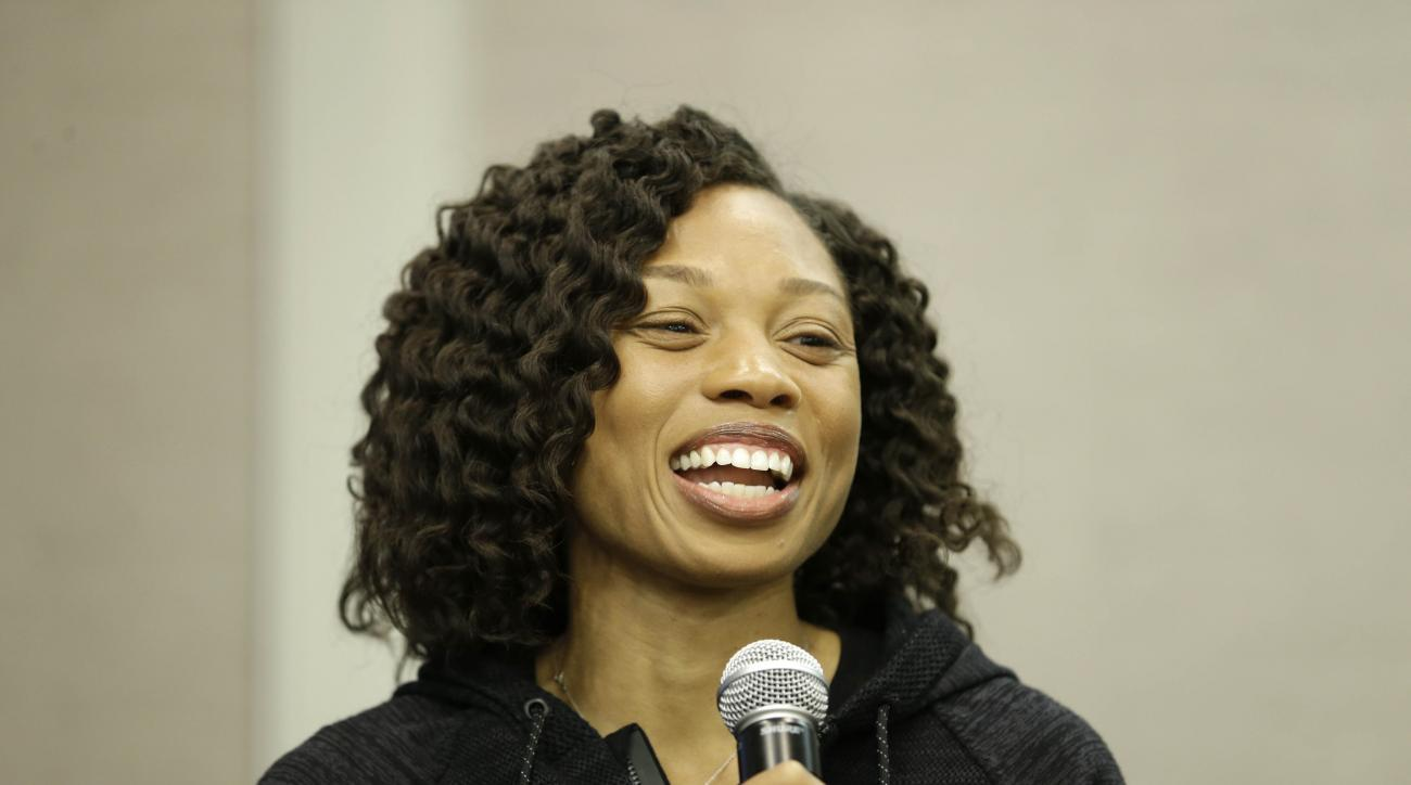Allyson Felix participates in a news conference in New York, Thursday, Feb. 18, 2016. Now that international track and field officials have shifted the schedule at the Rio Olympics, American star Allyson Felix will have a chance to win double gold in the