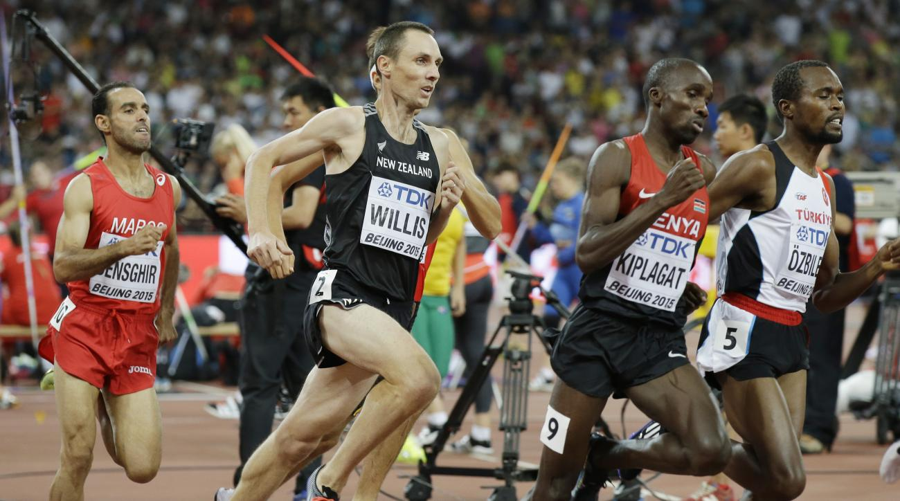 FILE - In this Aug. 28, 2015, file photo, New Zealand's Nick Willis runs in his men's 1,500-meter semifinal at the World Athletics Championships at the Bird's Nest stadium in Beijing. Willis, who won the silver medal in the 1,500 meters at the 2008 Beijin