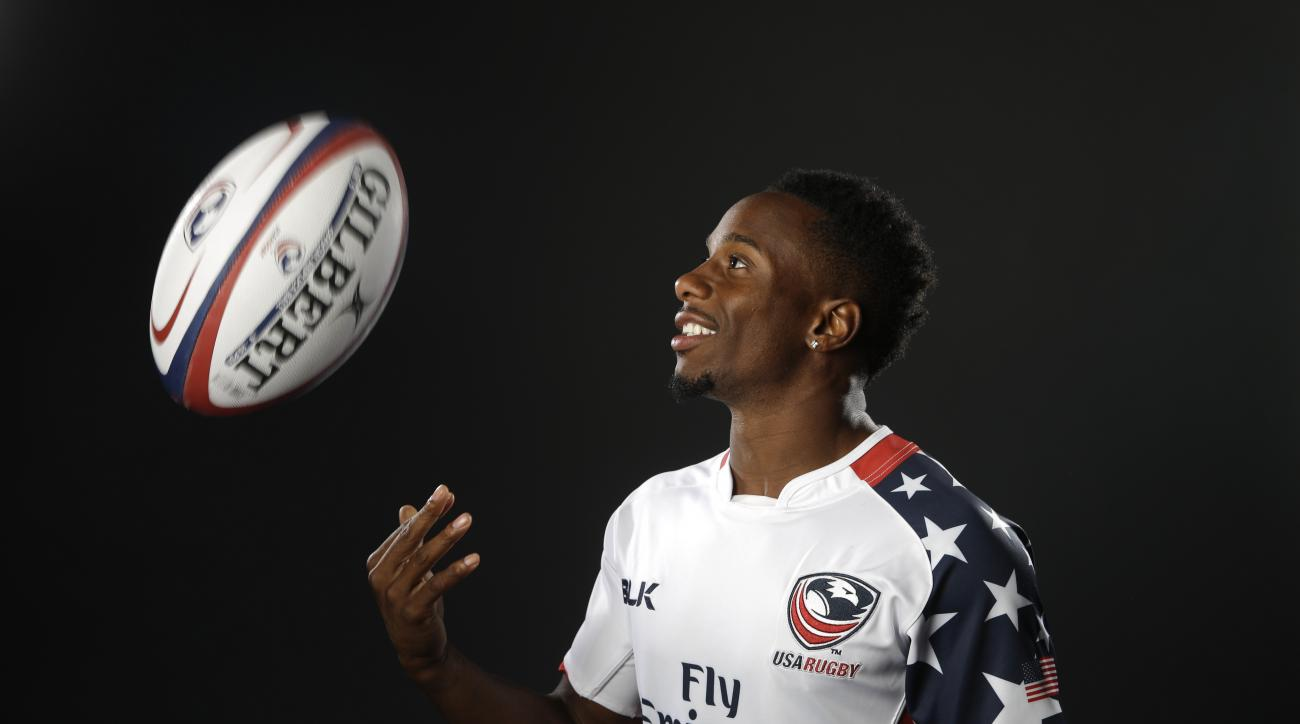 In this March 7, 2016 photo, rugby player Carlin Isles poses for photos at the 2016 Team USA Media Summit, in Beverly Hills, Calif. The 26-year-old is a good bet to earn a spot on Team USA as rugby sevens makes its Olympic debut at the Rio Games. Maybe ev