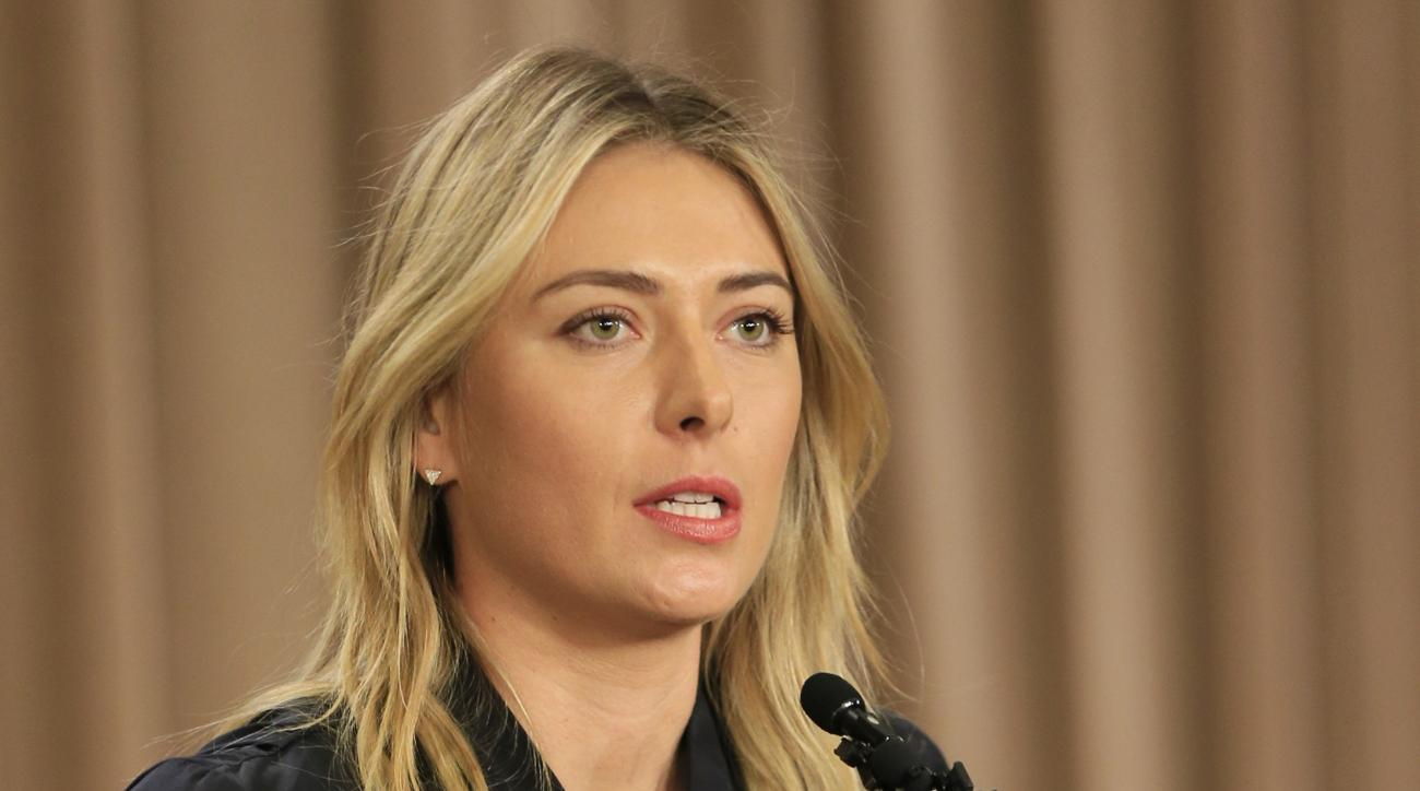 FILE - In this March 7, 2016, file photo, Maria Sharapova speaks about her failed drug test during a news conference in Los Angeles. Russia says Maria Sharapova is still in its plans for the Olympic tennis tournament in August despite her provisional susp