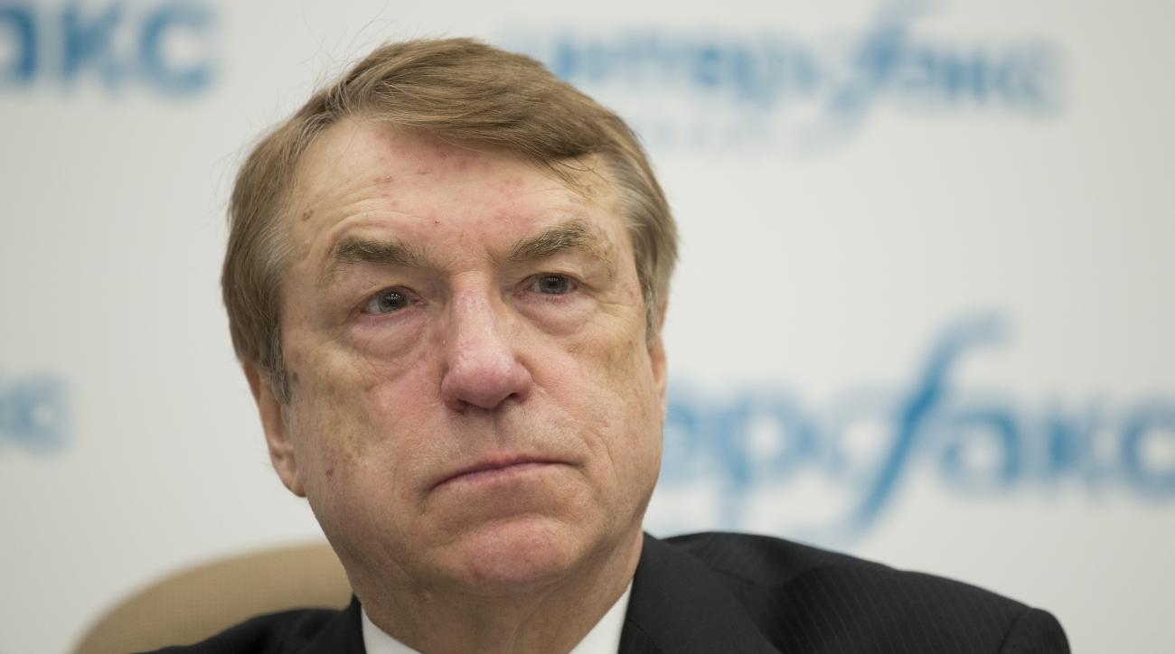 Ivars Kalvinsin, Latvian chemist and the inventor of meldonium, trade-named Mildronat, a full member of the Latvian Academy of Sciences, speaks to the media  Moscow, Russia, Monday, April 18, 2016. Meldonium was banned for 2016, prompting at least 172 fai