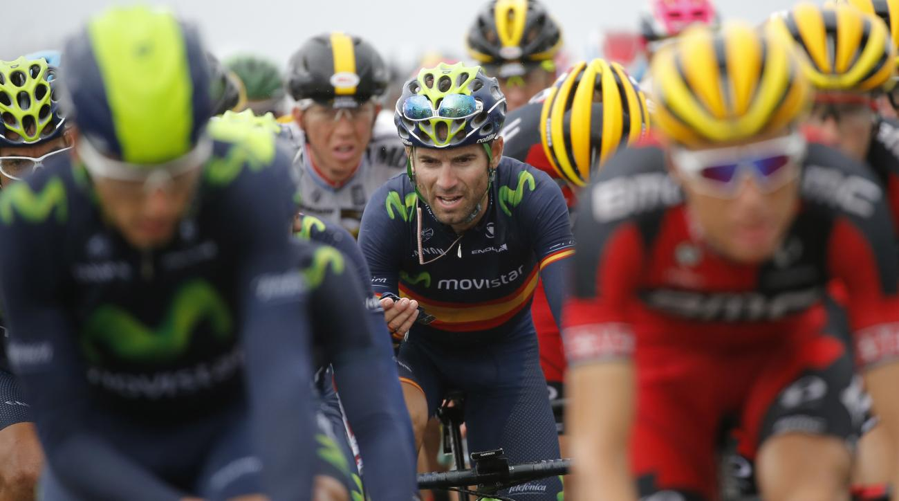 FILE - In this Wednesday, July 8, 2015 file photo, Spain's Alejandro Valverde, center, rides in the pack during the fifth stage of the Tour de France cycling race over 189.5 kilometers (117.8 miles) with start in Arras and finish in Amiens, France. Operat