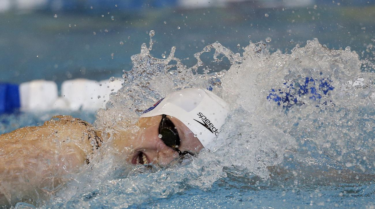 Katie Ledecky competes in the 200 meter freestyle finals at the Atlanta Classic Swim Meet at Georgia Tech Friday, May 13, 2016, in Atlanta. (AP Photo/John Bazemore)