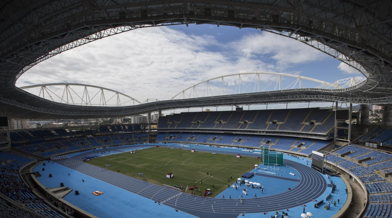 General view of the Rio Olympic Stadium during the Men's 3000m steeplechase final Athletics test event in Rio de Janeiro, Brazil, Saturday, May 14, 2016. The track and field test event is the last of more than 40 tests events for the Rio de Janeiro Olympi