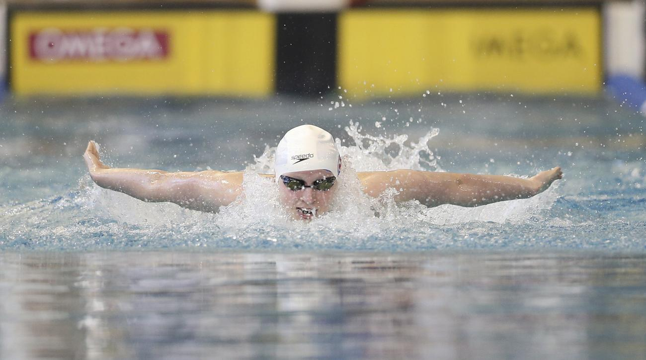 Katie Ledecky swims the butterfly leg of the 200-meter individual medley finals at the Atlanta Classic swim meet at Georgia Tech, Sunday, May 15, 2016, in Atlanta. (AP Photo/John Bazemore)