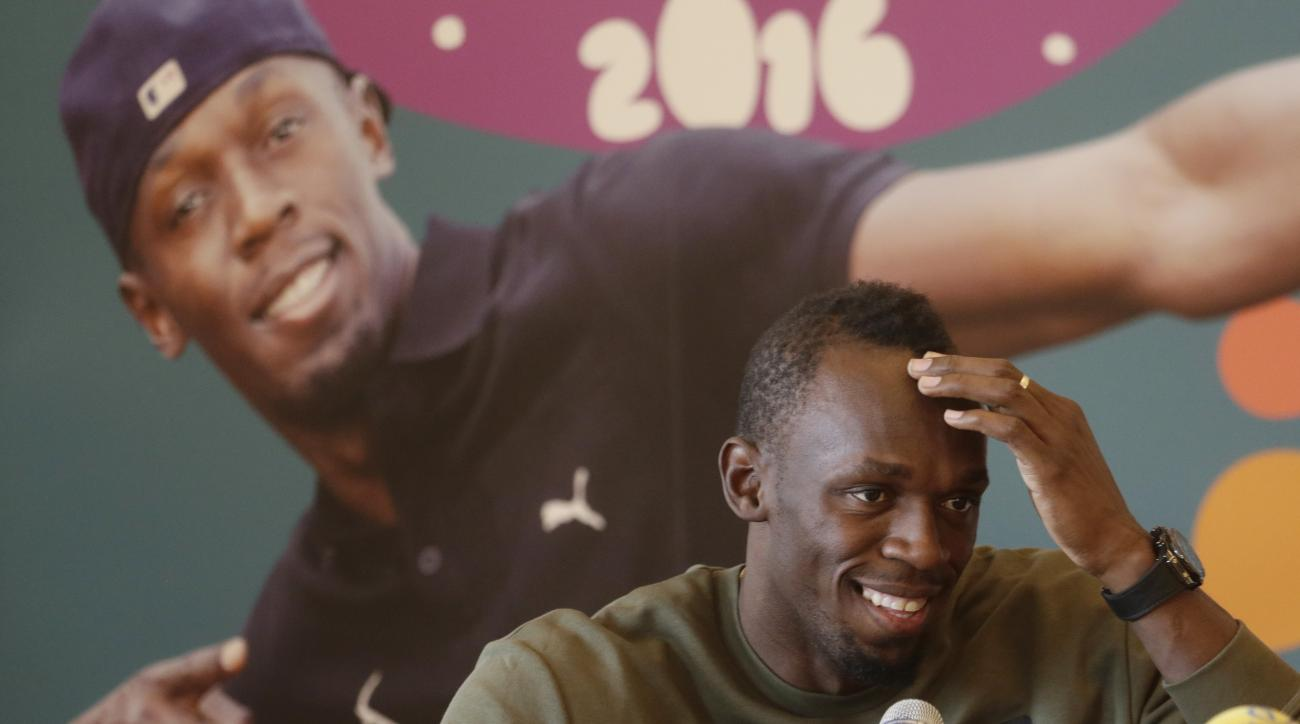 Jamaica's sprinter Usain Bolt smiles during a press conference in Prague, Czech Republic, Wednesday, May 18, 2016. Bolt arrived to the Czech Republic to attend a Golden Spike meeting in Ostrava on Friday, May 20, 2016. (AP Photo/Petr David Josek)