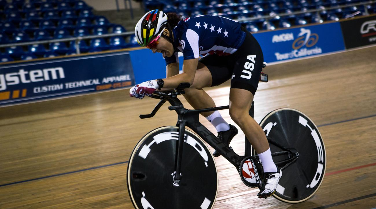 In this undated photo released by Felt Bicycles, a cyclist rides the company's new track bike, the TA FRD, at the Los Angeles Velodrome in Carson, Calif. USA Cycling and  the bike manufacturer Felt recently unveiled the revolutionary bike more than two ye