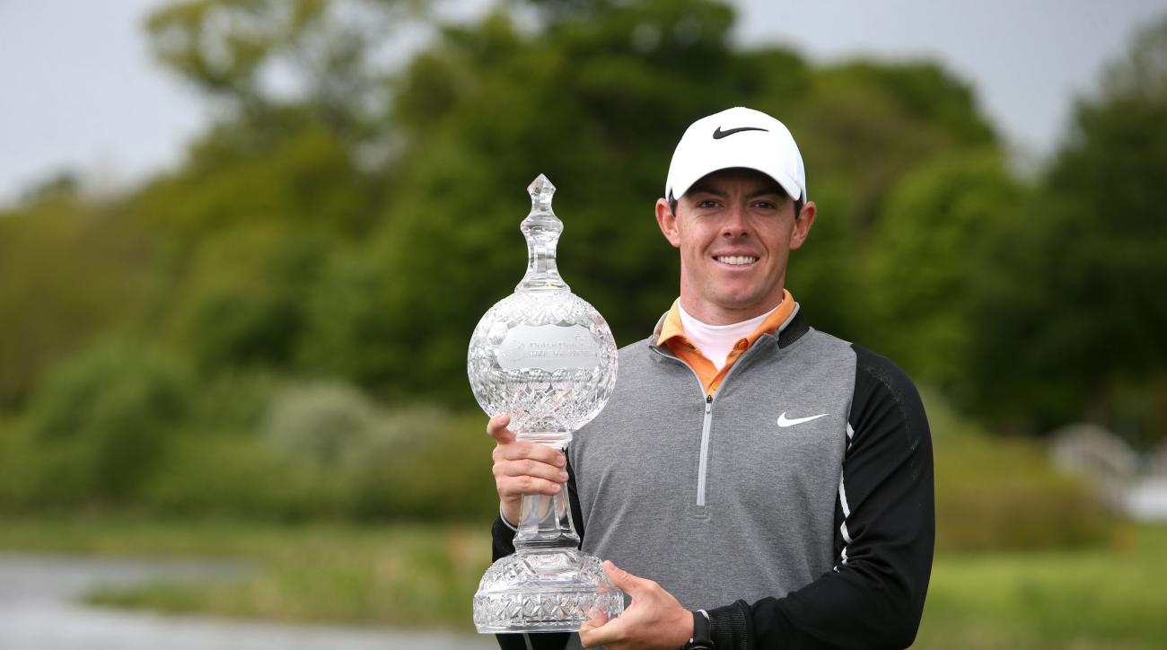 Northern Ireland's Rory McIlroy holds the trophy after winning the Irish Open at The K Club, County Kildare, Ireland, Sunday May 22, 2016. (Brian Lawless/PA via AP) UNITED KINGDOM OUT NO SALES NO ARCHIVE