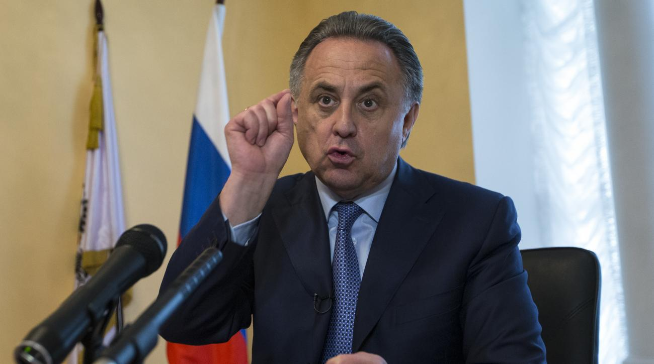 Russia's Sports Minister Vilaty Mutko gestures as he answers a journalist's questions, after their press tour of its anti doping laboratory in Moscow, Russia, Tuesday, May 24, 2016. The Russians have been accused of state-sponsored doping at the 2014 Soch