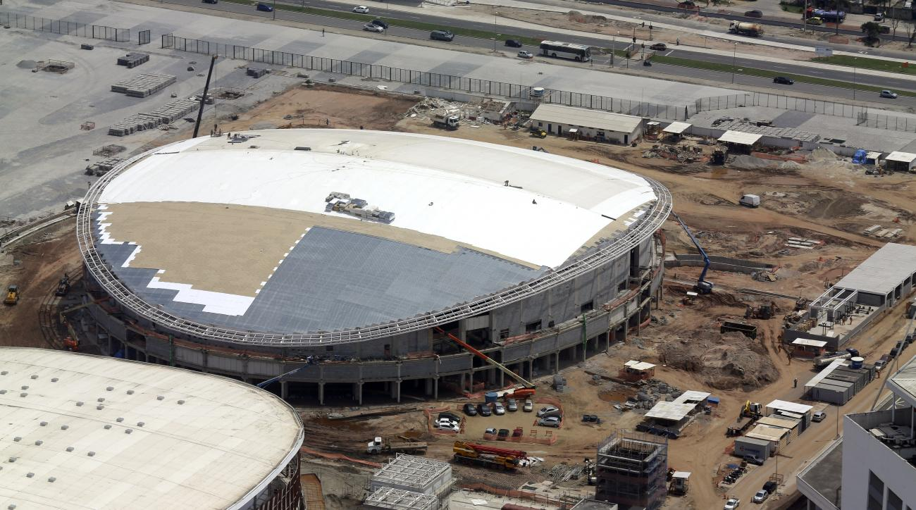 FILE - In this Oct. 9, 2015, file aerial photo, construction continues at the Rio Olympics velodrome in Rio de Janeiro. The president of cyclings world governing body remains very, very concerned that the velodrome under construction for the Rio Olympics