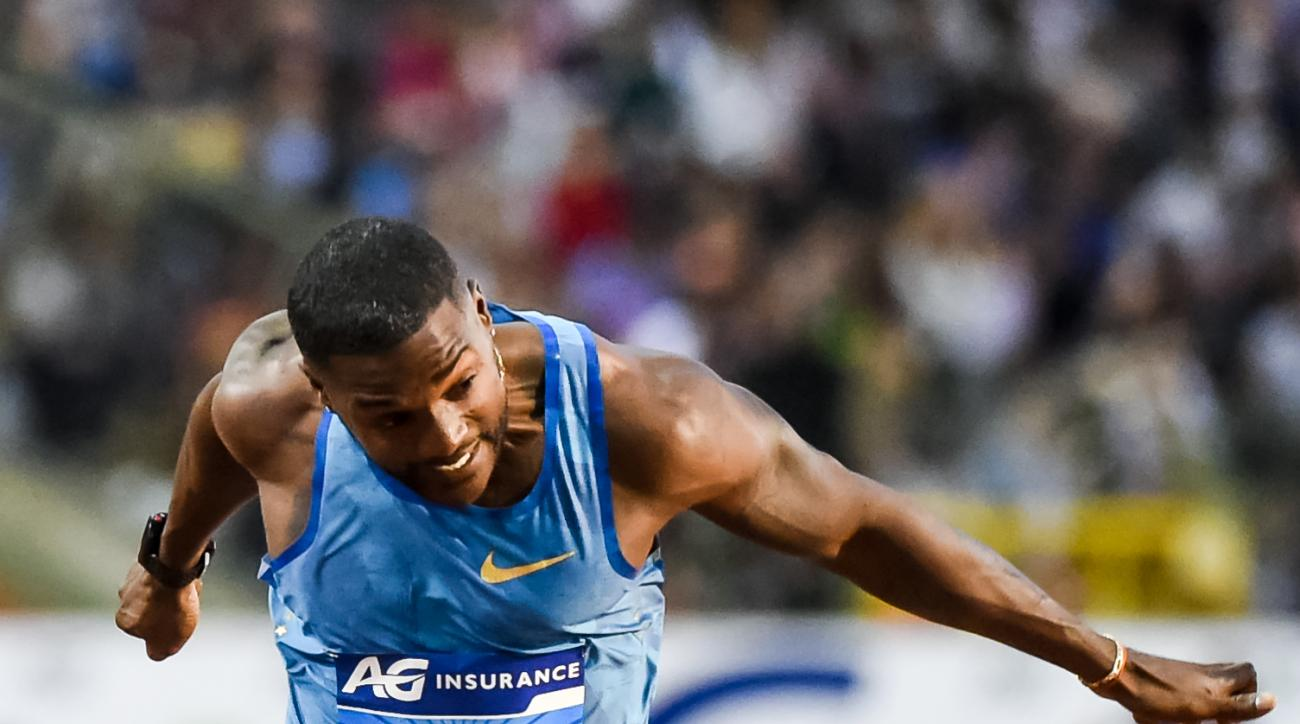 FILE - In this Sept. 11, 2015 file photo, Justin Gatlin, from the U.S., wins the men's 100m at the Diamond League Memorial Van Damme athletics event at Brussels' King Baudouin stadium. Before a race, the mild-mannered American sprinter says he transforms