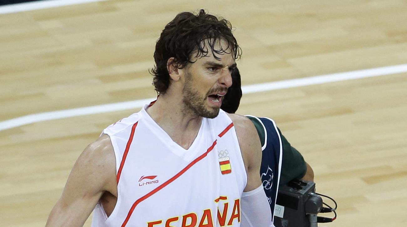 Spain's Pau Gasol reacts after Spain defeated Russian in a men's basketball semifinal game at the 2012 Summer Olympics, Friday, Aug. 10, 2012, in London. (AP Photo/Victor R. Caivano)