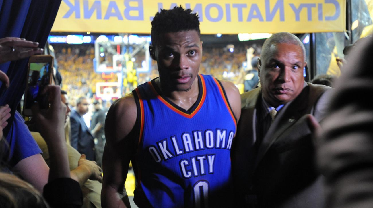 OAKLAND, CA - MAY 30:  Russell Westbrook #0 of the Oklahoma City Thunder walks off the court after being defeated 96-88 by the Golden State Warriors in Game Seven of the Western Conference Finals during the 2016 NBA Playoffs at ORACLE Arena on May 30, 201