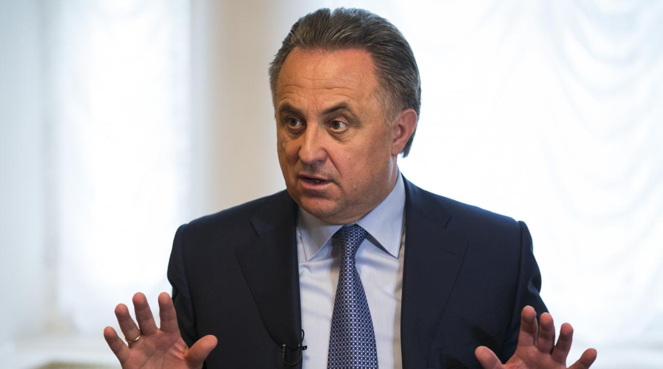FILE In this Tuesday, May 24, 2016 file photo Russian Sports Minister Vitaly Mutko gestures answering a journalist's question after a press tour of the anti doping laboratory in Moscow, Russia. Russian Sports Minister Vitaly Mutko on Thursday, June 9, 201
