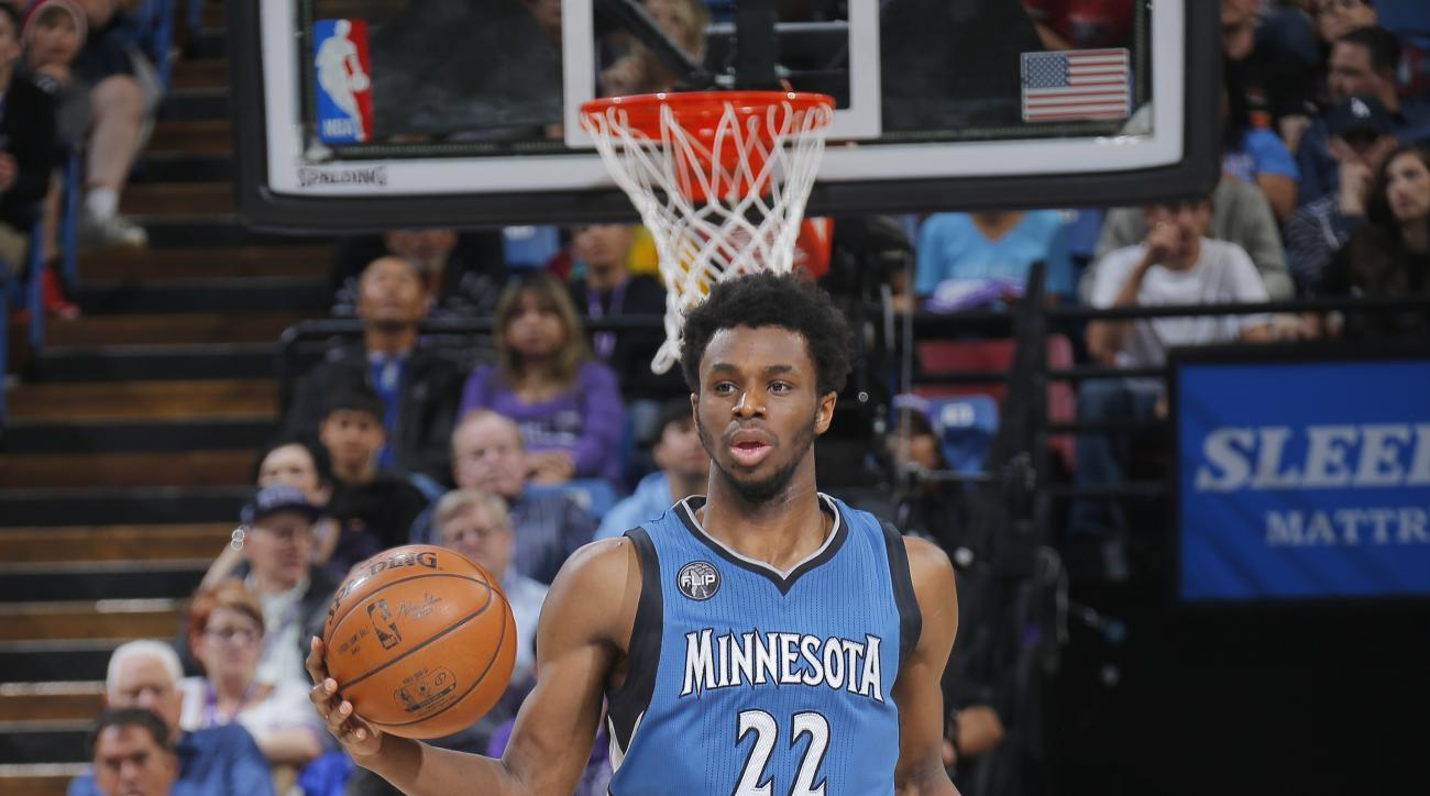 SACRAMENTO, CA - APRIL 7: Andrew Wiggins #22 of the Minnesota Timberwolves brings the ball up the court against the Sacramento Kings on April 7, 2016 at Sleep Train Arena in Sacramento, California. (Photo by Rocky Widner/NBAE via Getty Images)