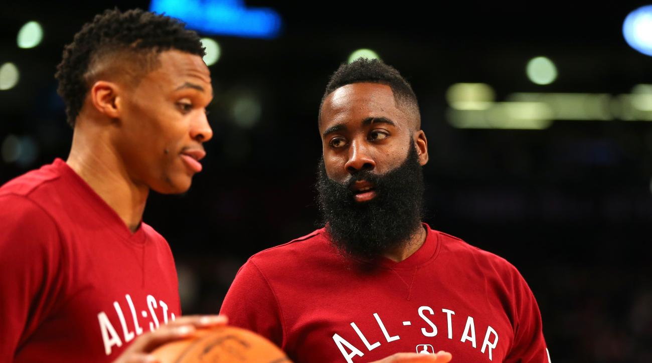 TORONTO, ON - FEBRUARY 14: Russell Westbrook #0 of the Oklahoma City Thunder and the Western Conference and James Harden #13 of the Houston Rockets and the Western Conference warm up before the NBA All-Star Game 2016 at the Air Canada Centre on February 1