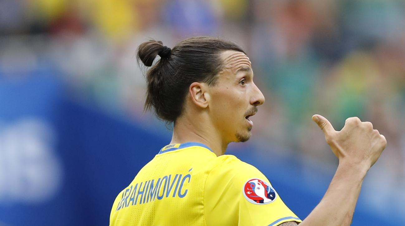 Sweden's Zlatan Ibrahimovic walks on the pitch  during the Euro 2016 Group E soccer match between Ireland and Sweden at the Stade de France in Saint-Denis, north of Paris, France, Monday, June 13, 2016. (AP Photo/Christophe Ena)