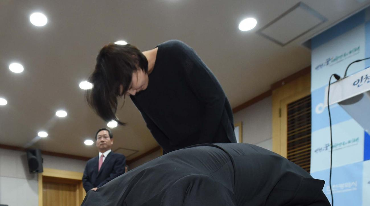 In this Monday, May 2, 2016, photo, former Olympic swimming champion Park Tae-hwan of South Korea bows to express his regret for doping during a press conference in Incheon, South Korea. South Korea's Olympic committee on Thursday, June 16, 2016, has reaf
