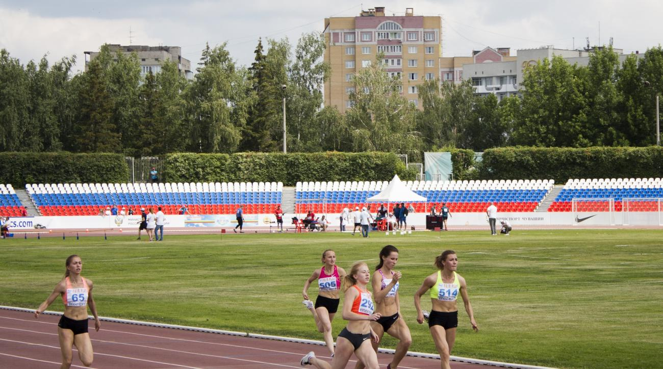 Russia's athletes compete during the National track and field championships at a stadium in Cheboksary, Russia, Monday, June 20, 2016. The Russian national track and field championships were supposed to offer a chance to secure Olympic places, but with Ru