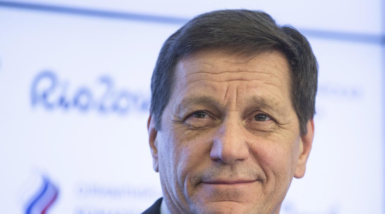 FILE - In this March 31, 2016 file picture President of Russias Olympic Committee Alexander Zhukov speaks at a news conference in Moscow, Russia.  The head of Russia's Olympic Committee says the country will appeal to the Court of Arbitration for Sport ag