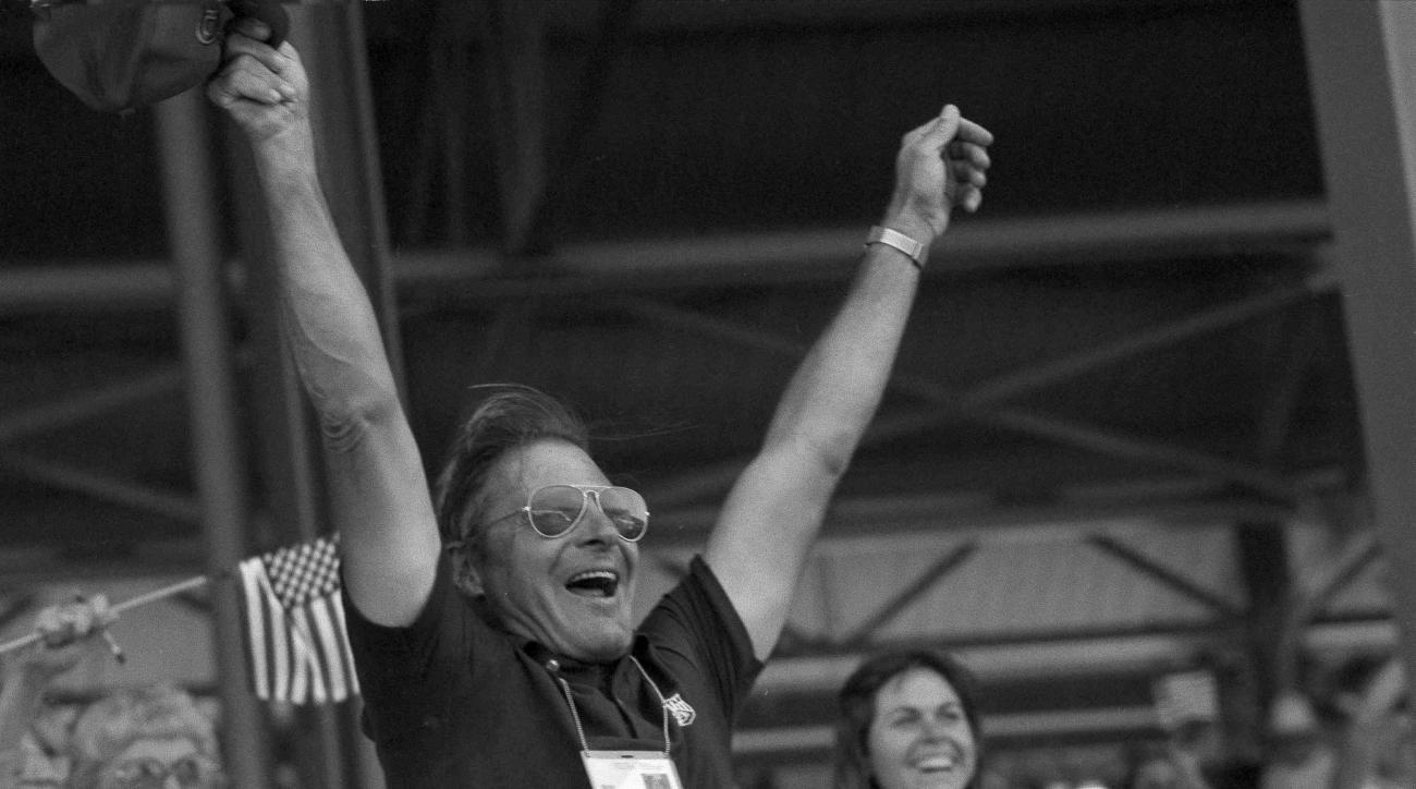 FILE - In this Aug. 7, 1984, file photo, Frank Chapot, coach of the U.S. equestrian jumping team, celebrates his team's gold medal win during the Summer Olympics at Santa Anita Park in Arcadia, Calif. The champion show jumper who competed in multiple Olym
