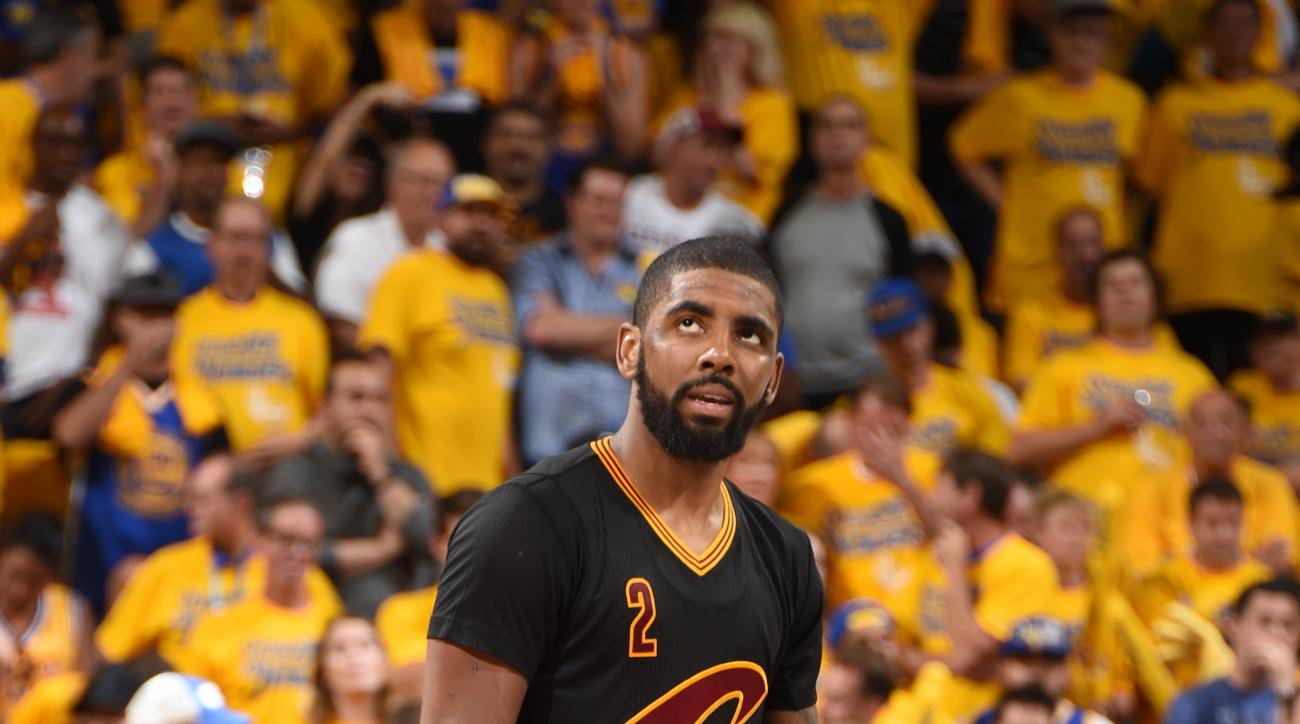 OAKLAND, CA - JUNE 19:  Kyrie Irving #2 of the Cleveland Cavaliers looks on during the game against the Golden State Warriors during Game Seven of the 2016 NBA Finals on June 19, 2016 at ORACLE Arena in Oakland, California. (Photo by Andrew D. Bernstein/N