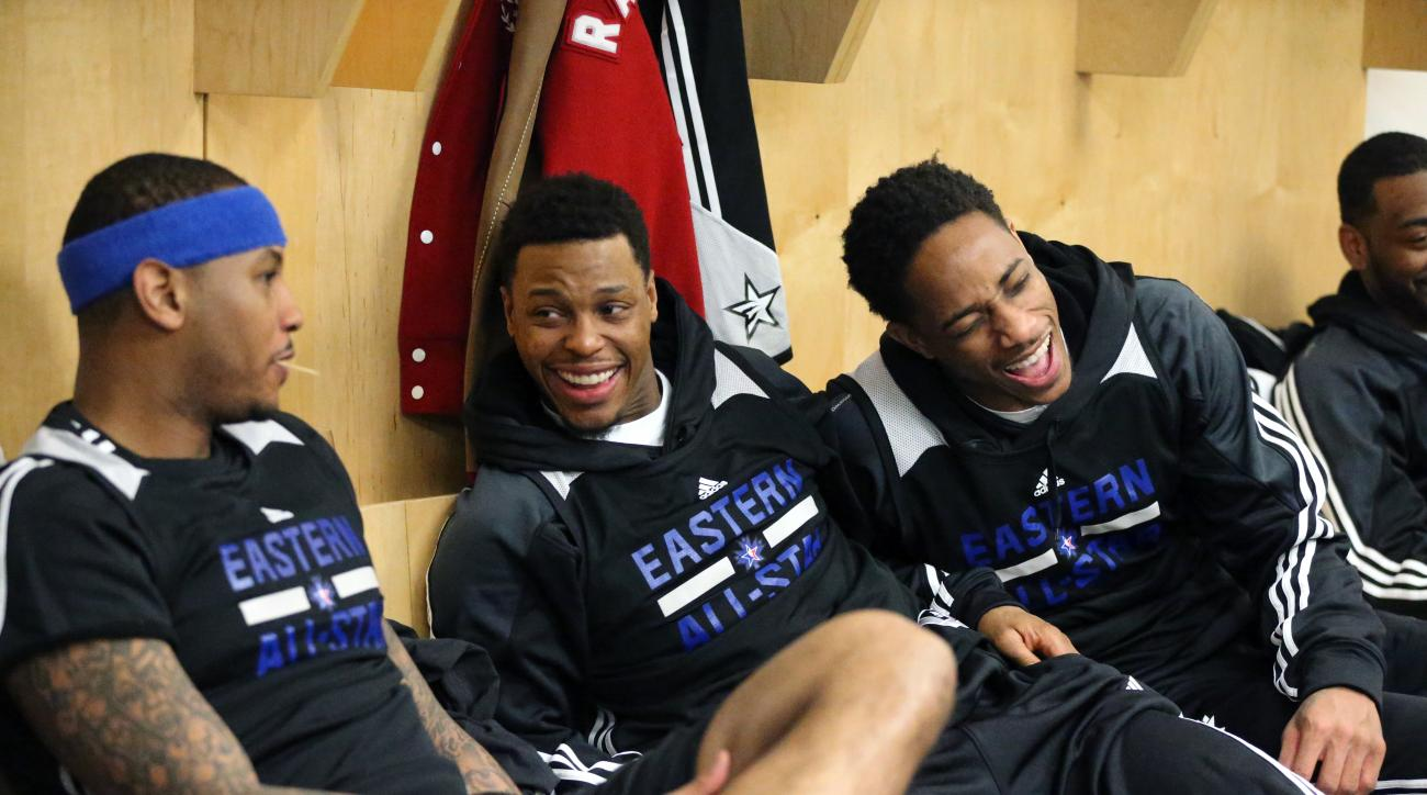 TORONTO, CANADA - FEBRUARY 13:  Carmelo Anthony #7 of the Eastern Conference, Kyle Lowry #7 of the Eastern Conference and DeMar DeRozan #10 of the Eastern Conference during the NBA All-Star Practice as part of 2016 All-Star Weekend at the Ricoh Coliseum o