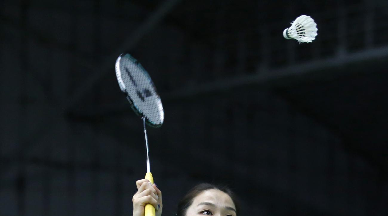 In this photo taken on Thursday, June 16, 2016, South Korean player Jeong Kyung-eun who was disqualified with her teammate Kim Ha-na, as they played in the women's doubles at the 2012 games in London, practices at the Korean National Training Center in Se