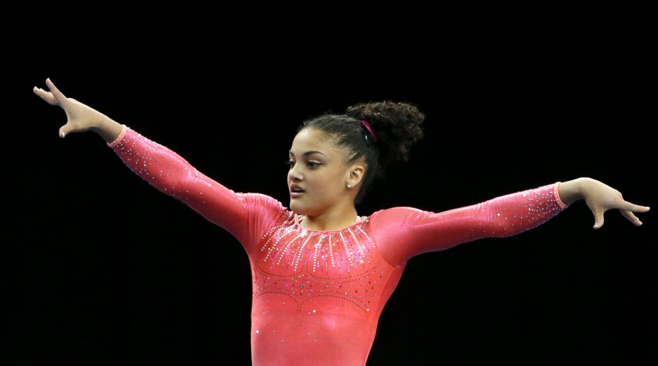 Lauren Hernandez competes in the floor exercise during the U.S. women's gymnastics championships, Friday, June 24, 2016, in St. Louis. (AP Photo/Tony Gutierrez)