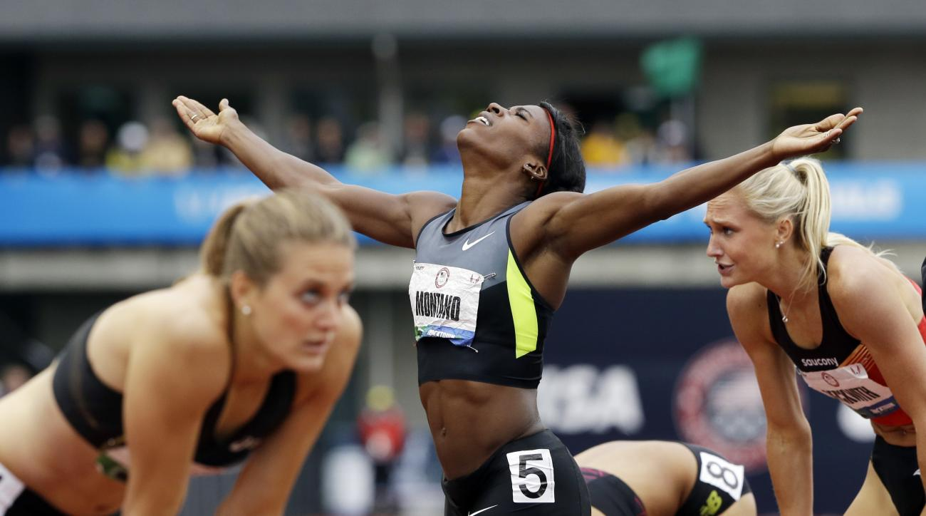 FILE - In this June 25, 2012, file photo, Alysia Montano reacts after winning the women's 800-meter final at the U.S. Olympic Track and Field Trials in Eugene, Ore. It seems almost certain that Montano will get her medals. A couple bronzes, and maybe even