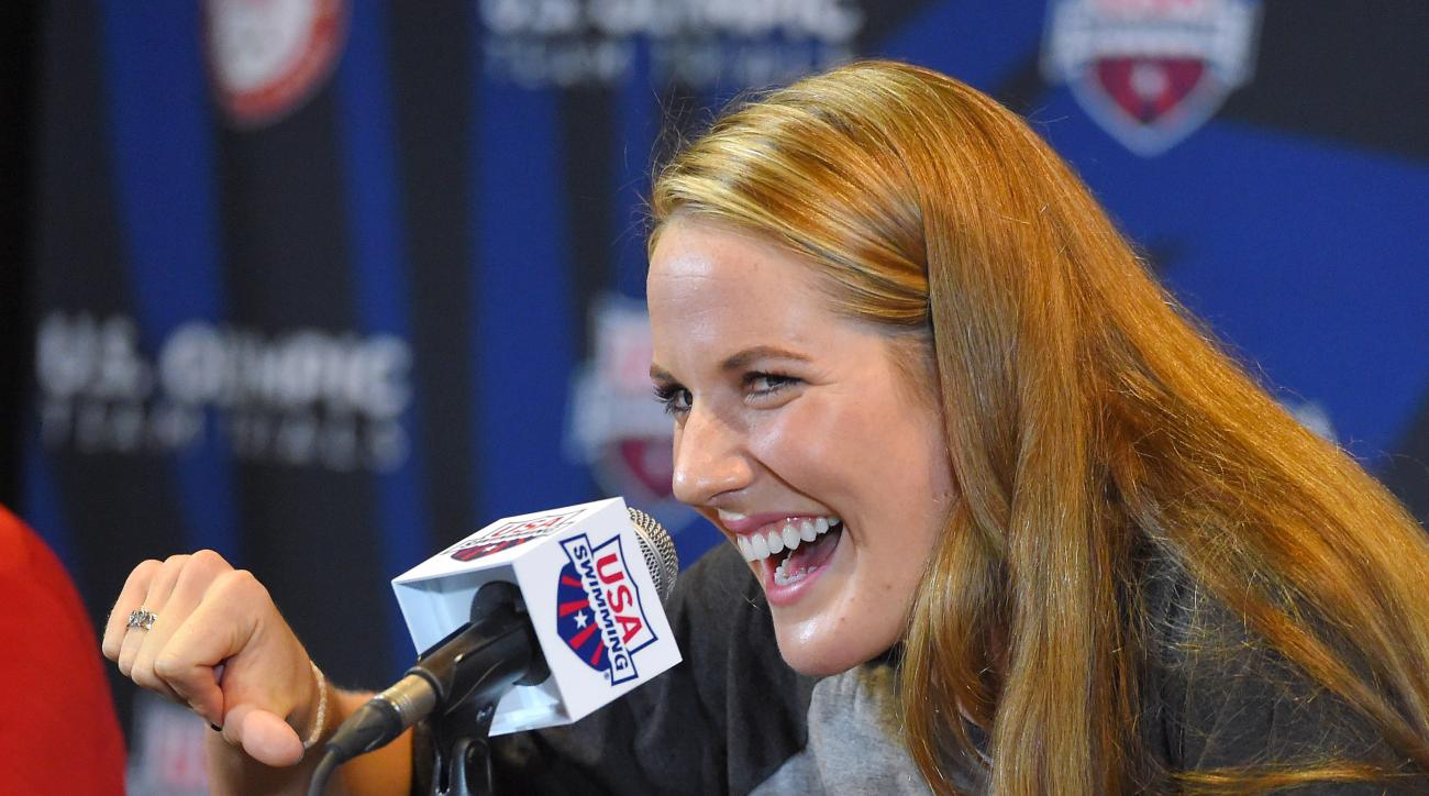 Swimmer Missy Franklin speaks during a news conference at the U.S. Olympic swimming trials, Saturday, June 25, 2016, in Omaha, Neb. (AP Photo/Mark J. Terrill)