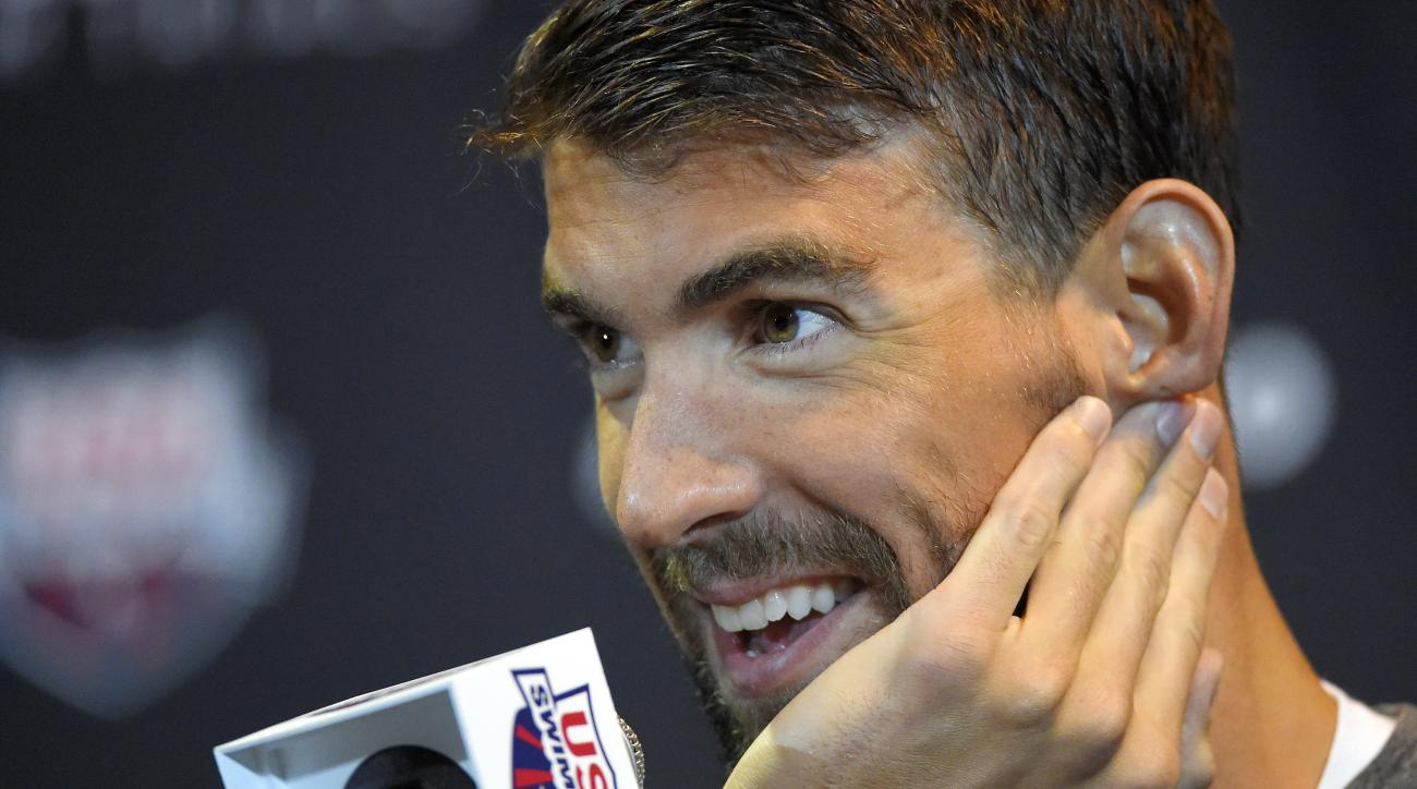 Michael Phelps speaks during a news conference at the U.S. Olympic swimming trials, Saturday, June 25, 2016, in Omaha, Neb. (AP Photo/Mark J. Terrill)