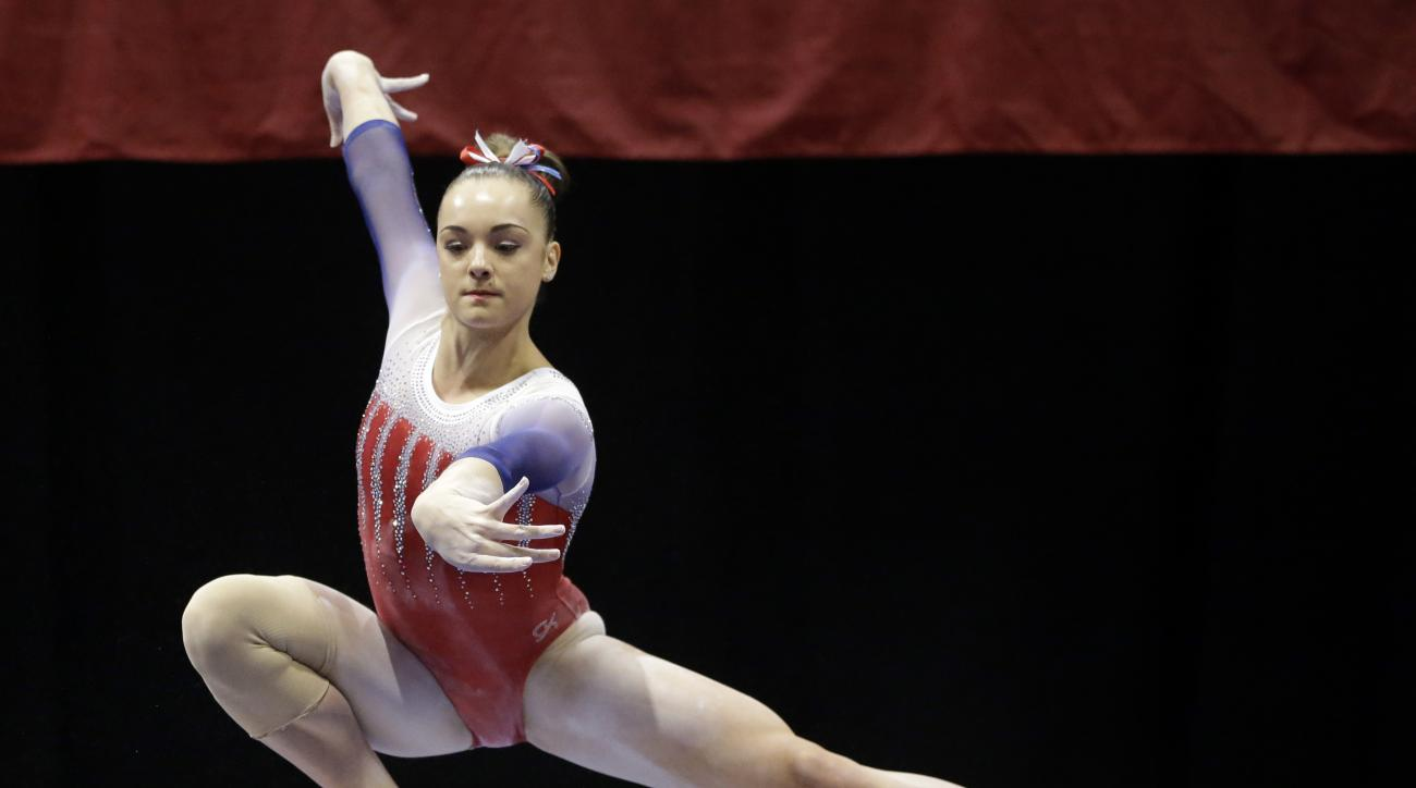 Maggie Nichols competes on the balance beam during the U.S. women's gymnastics championships Sunday, June 26, 2016, in St. Louis. (AP Photo/Jeff Roberson)
