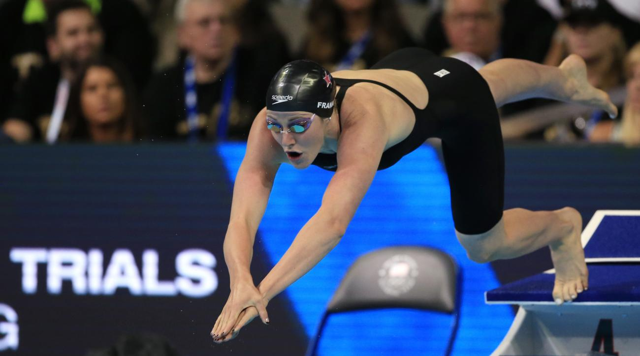 Missy Franklin dives at the start of her heat in the women's 200-meter freestyle preliminaries at the U.S. Olympic swimming trials in Omaha, Neb., Tuesday, June 28, 2016. (AP Photo/Orlin Wagner)