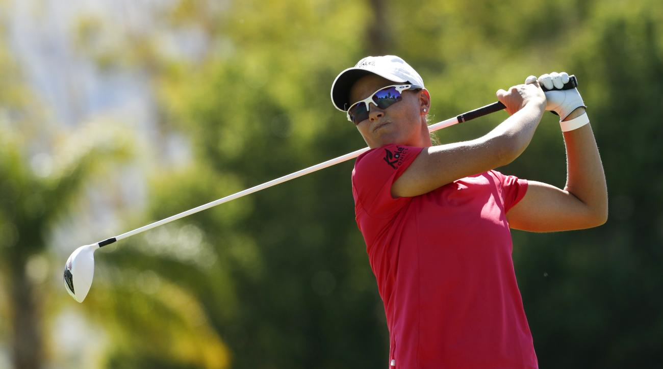 Lee-Anne Pace watches her hit shot on the 12th hole during the second round of the LPGA Tour ANA Inspiration golf tournament at Mission Hills Country Club, Friday, April 1, 2016, in Rancho Mirage, Calif. (AP Photo/Chris Carlson)