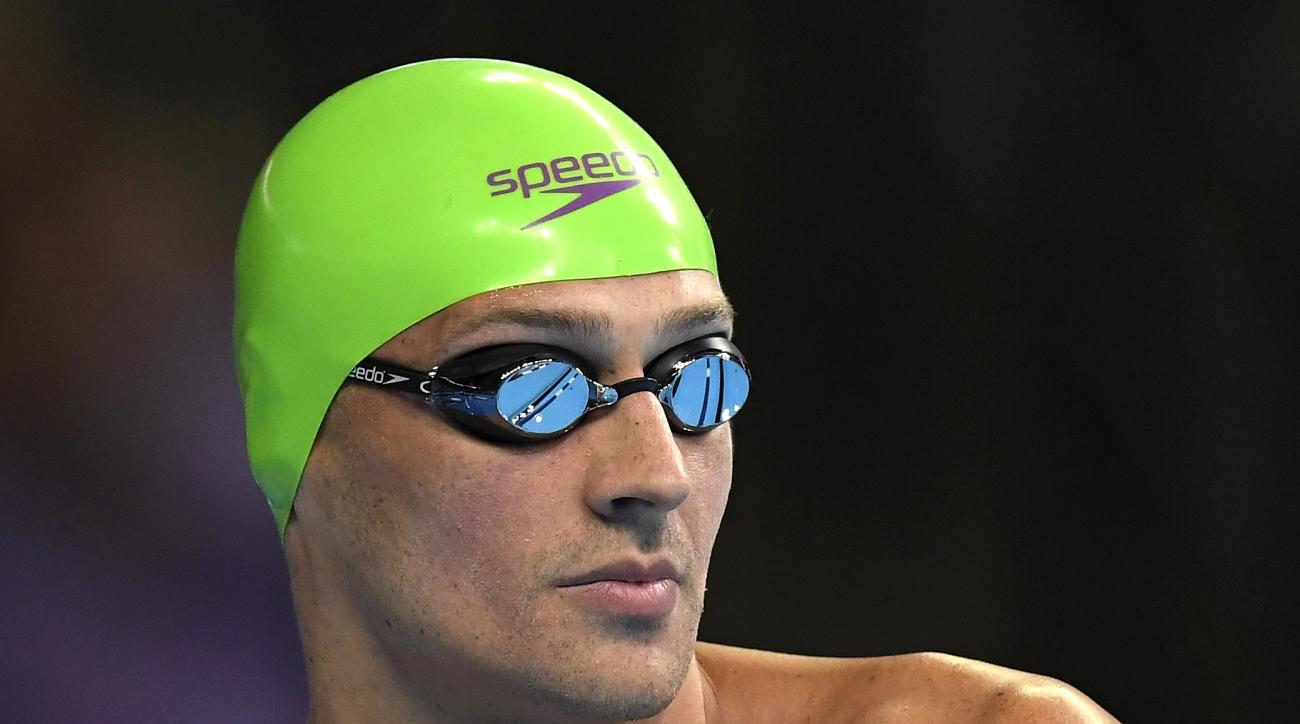 Ryan Lochte gets ready to swim in a men's 200-meter individual medley semifinal at the U.S. Olympic swimming trials Thursday, June 30, 2016, in Omaha, Neb. (AP Photo/Mark J. Terrill)