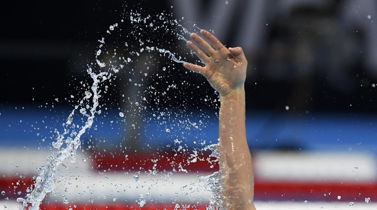 Ryan Murphy swims in a mens 200-meter backstroke semifinal at the U.S. Olympic swimming trials, Thursday, June 30, 2016, in Omaha, Neb. (AP Photo/Mark J. Terrill)