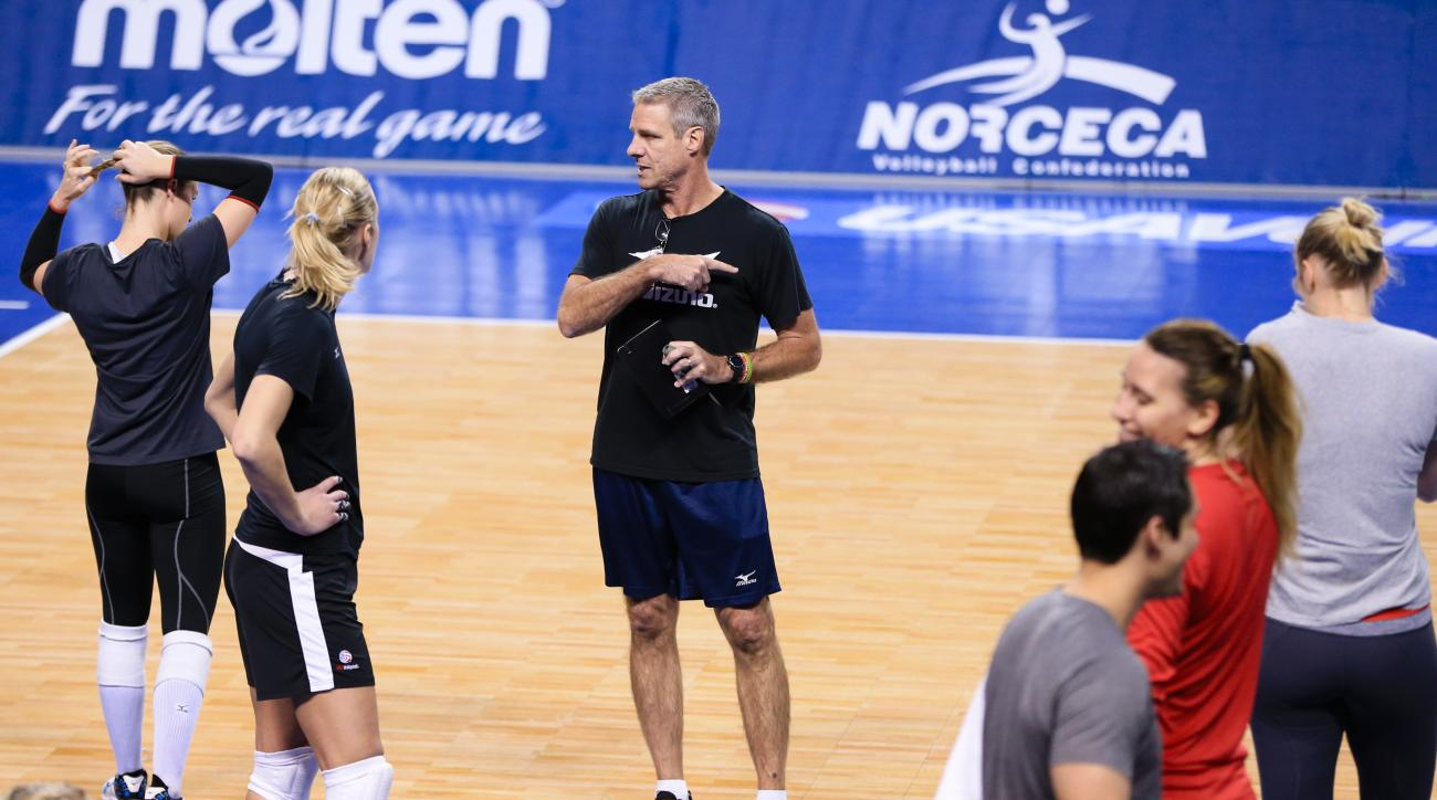 In this Jan. 6, 2016, photo, U.S. coach Karch Kiraly addresses his players during U.S. volleyball practice in Lincoln, Neb. Kiraly's close-knit U.S. squad believes it has built the right mix to challenge for the top spot on the podium this August in Rio d