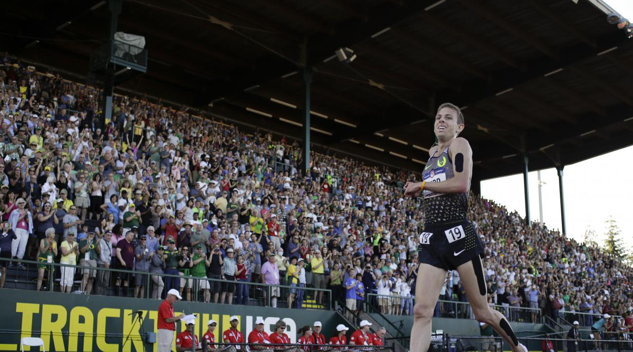 Galen Rupp wins the during the men's 10,000-meter run final at the U.S. Olympic Track and Field Trials, Friday, July 1, 2016, in Eugene Ore. (AP Photo/Matt Slocum)