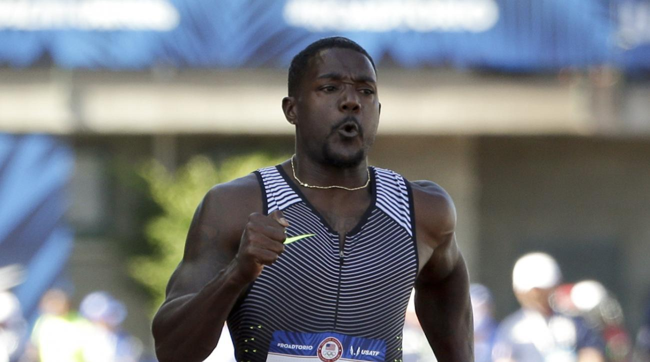 Justin Gatlin wins his heat during for men's 100-meter semi-final at the U.S. Olympic Track and Field Trials, Sunday, July 3, 2016, in Eugene Ore. (AP Photo/Marcio Jose Sanchez)