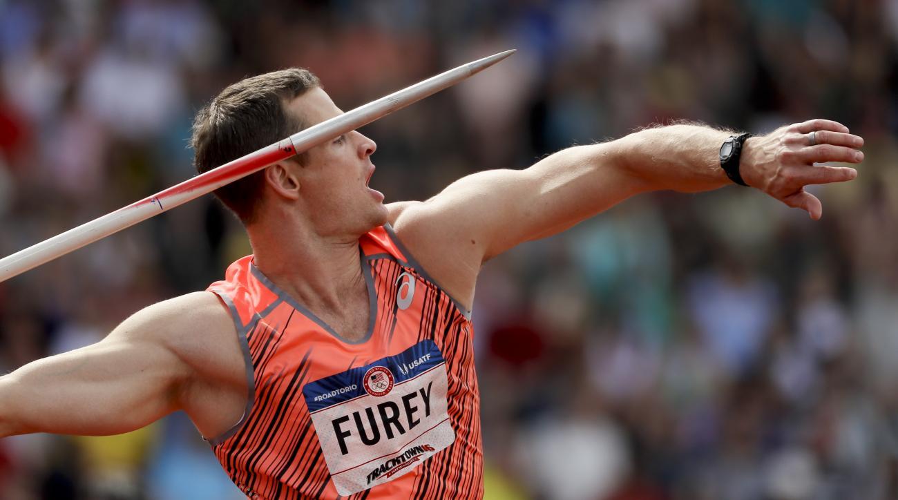 Sean Furey competes during the javelin throw final at the U.S. Olympic Track and Field Trials, Monday, July 4, 2016, in Eugene Ore. (AP Photo/Matt Slocum)