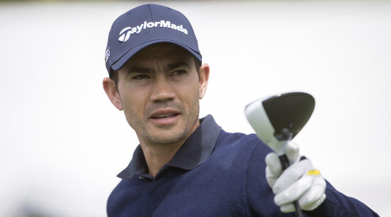 Camilo Villegas, of Colombia, plans his tee shot on the first tee during the first round of the RBC Heritage golf tournament in Hilton Head Island, S.C., Thursday, April 14, 2016. (AP Photo/Stephen B. Morton)