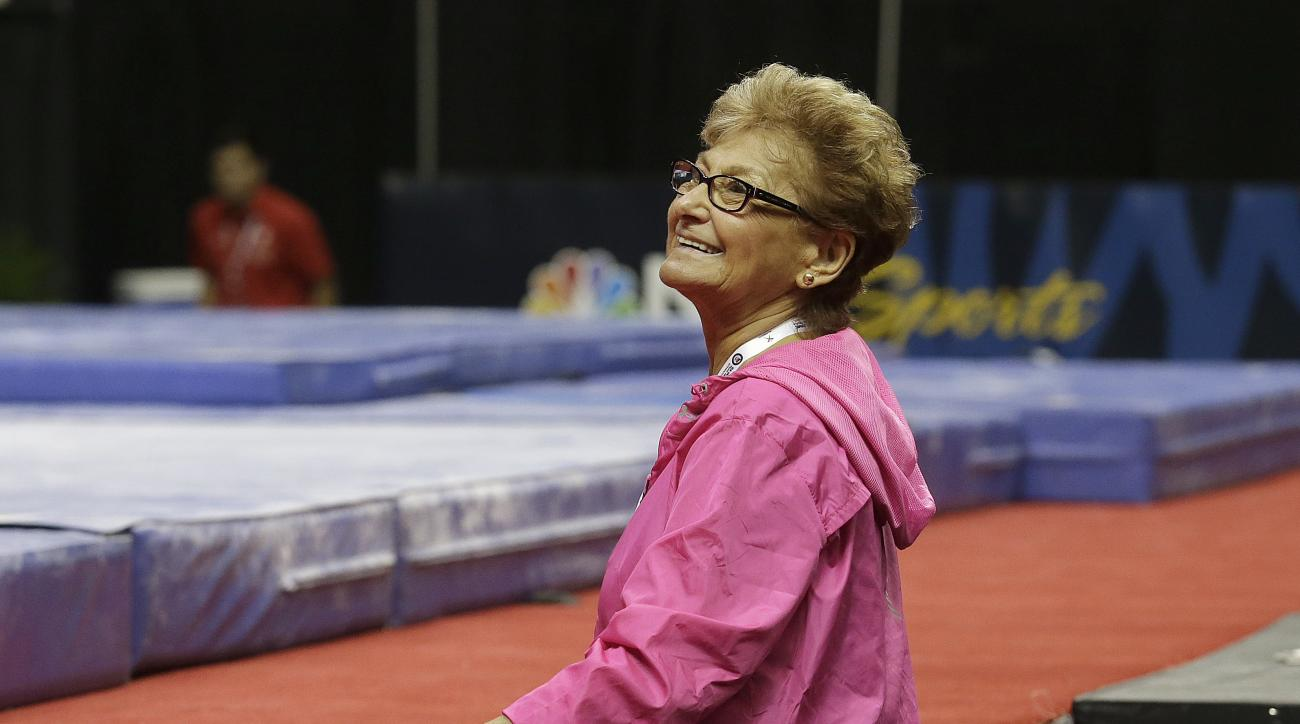 Marta Karolyi, national team coordinator for USA Gymnastics, smiles during practice at the U.S. Olympic trials in gymnastics in San Jose, Calif., Thursday, July 7, 2016. (AP Photo/Jeff Chiu)