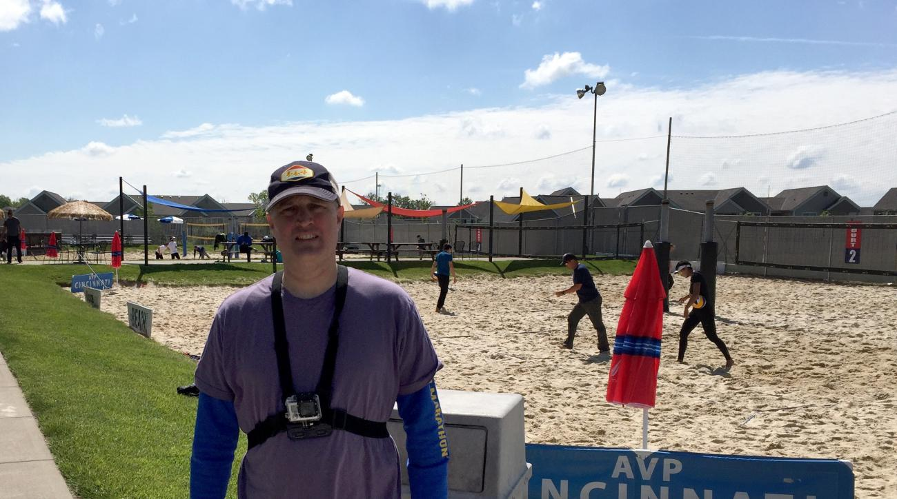 This May 18, 2016, photo shows Jimmy Golen at the AVP Cincinnati Open in Mason, Ohio. During a professional tour event outside Cincinnati this spring, Golen had a chance to hit the ball around with two-time Olympian and 2008 gold medalist Todd Rogers. (AP