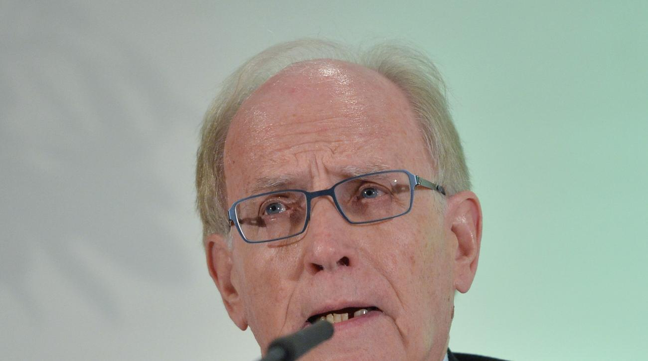 FILE - In this Thursday, Jan. 14, 2016 file photo, legal counsel Richard H. McLaren speaks as WADA's (World Anti-Doping Agency) Independent Commission (IC) presents the findings of his Commission's Report surrounding allegations of doping in sport, during