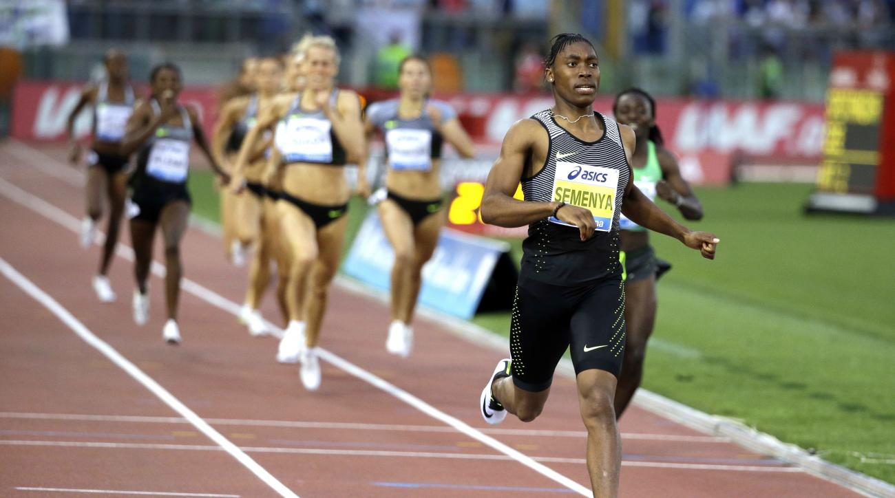 FILE - In this June 2, 2016, file photo, South Africa's Caster Semenya crosses the finish line after winning the the women's 800m event at the Golden Gala IAAF athletic meeting, in Rome's Olympic stadium. Semenya has been just about unbeatable this season